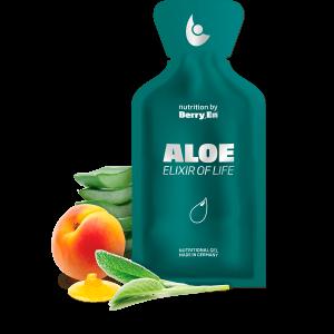 Styrk immunforsvaret med den grønne gel fra Berry.En. Viser aloe vera, abrikos, salvie og blomsterhonning og en gelpakke på 25g.