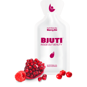 Giv din hud elasticitet og spændstighed igen med det hvide gel kosttilskud fra Berry.En. Viser hindbær, granatæble, acerola kirsebær og en gelpakke på 25g med kollagen i flydende form.