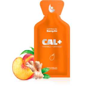 Få et ekstra tilskud af calcium og magnesium med det orange gel kosttilskud fra Berry.En. Viser ingefær, en fersken og en gelpakke på 25g.